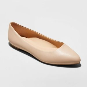 Kora Microsuede Pointed Toe Ballet Flats Taupe